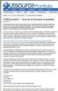 Outsourceportfolio.com: IT-BPO provider? – Try to be as Germanic as possible!