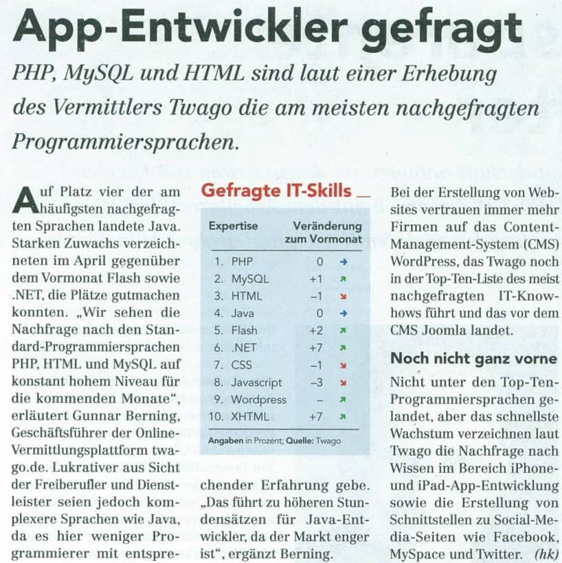 Computerwoche: High demand for app-developers