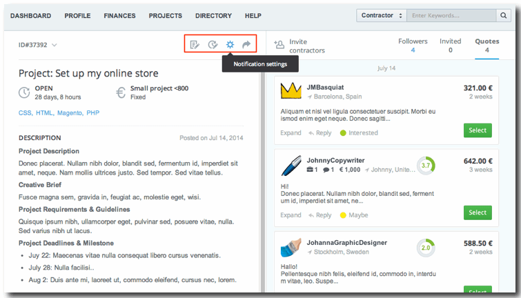 new project view - meet the toolbar, where you manage your project