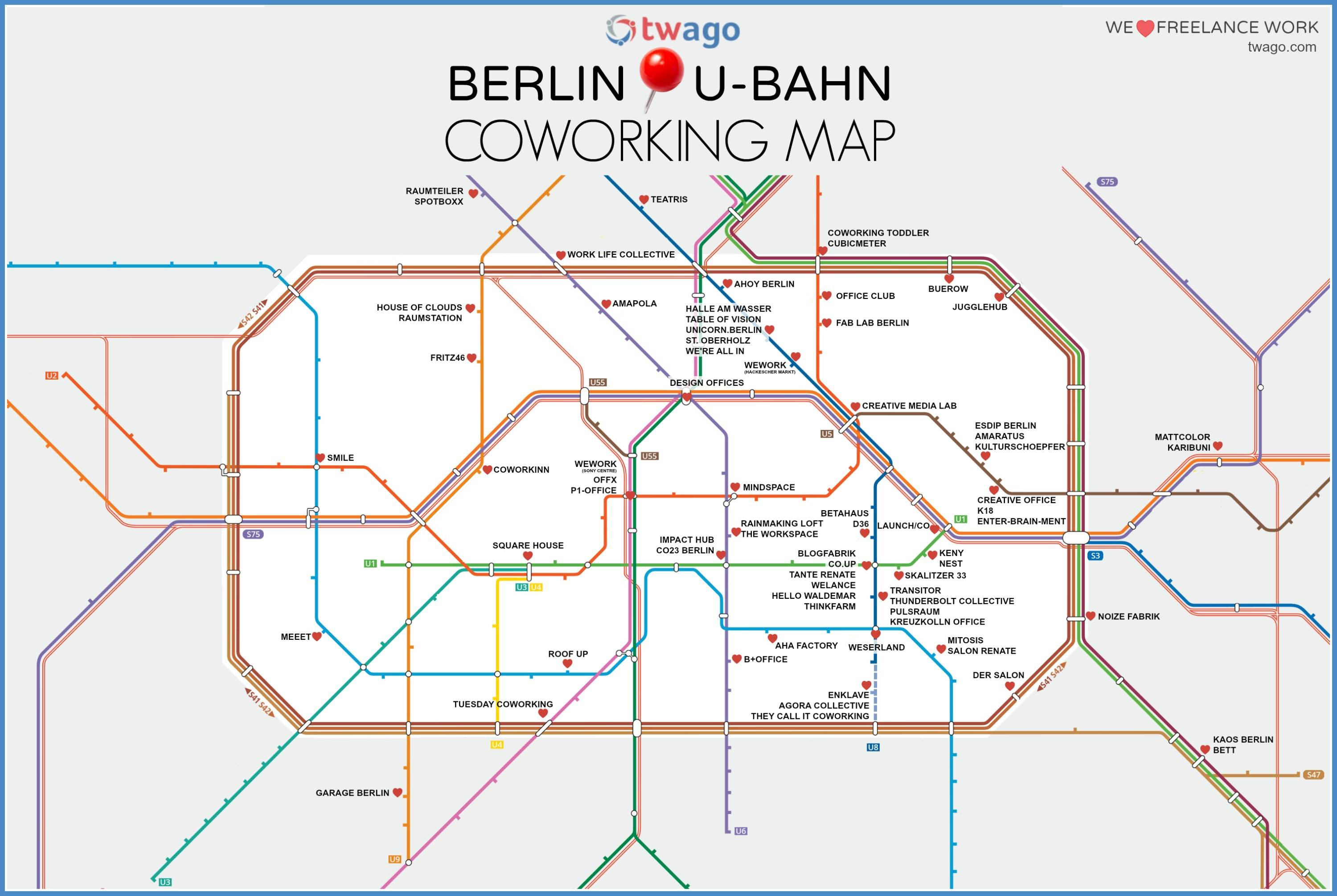 Berlin Coworking UBahn Map Twago Blog - Berlin us bahn map